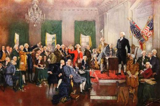 Scene at the Signing of the Constitution of the US