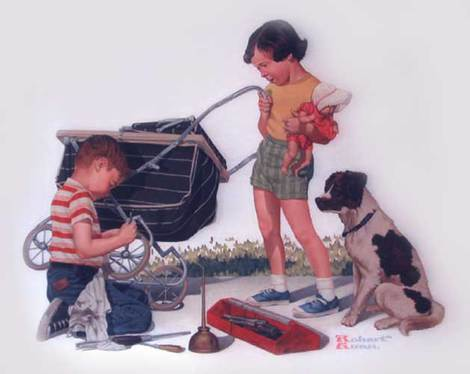 Boy and Girl with Broken Baby Carriage