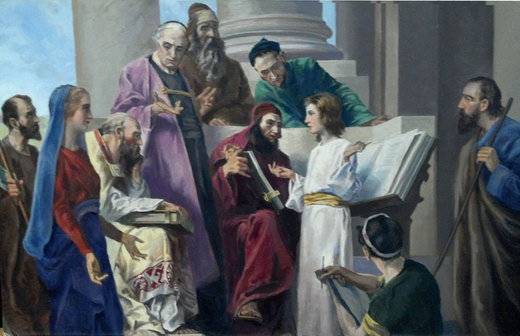 Jesus Among the Doctors - oil print by Francis Robert Harper