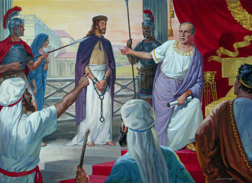 Christ before Pilate - gouache by C.F. Horndorf