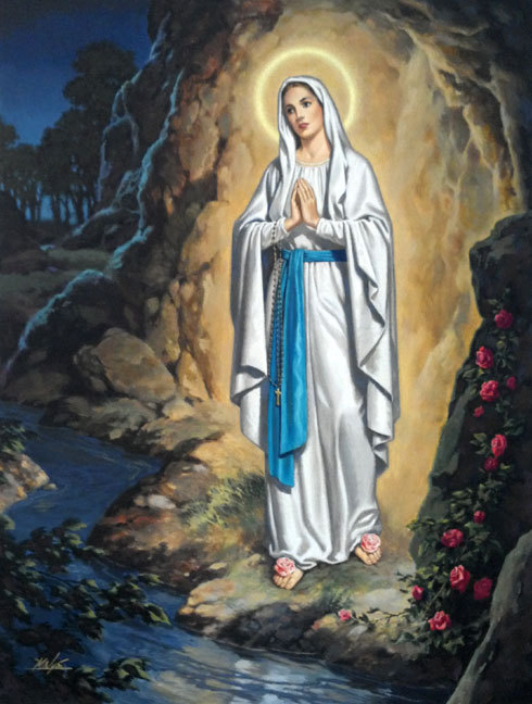 Our Lady of Lourdes - Gouache by Marvin Nye