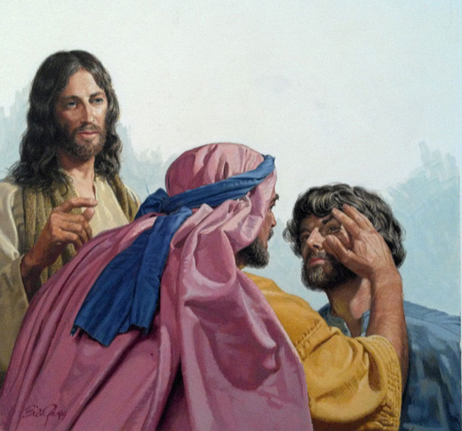 Christ Heals the Deaf and Dumb Man - watercolor by Bill Gregg