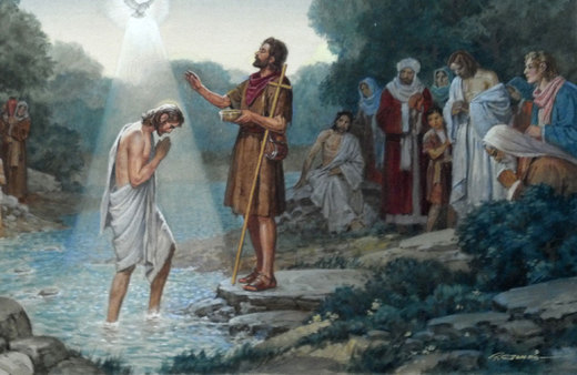 Jesus Baptized - Watercolor by R. G. Jones