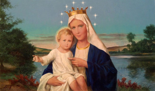 Mary Queen of Heaven & Earth - Gouache by Wm.Luberoff