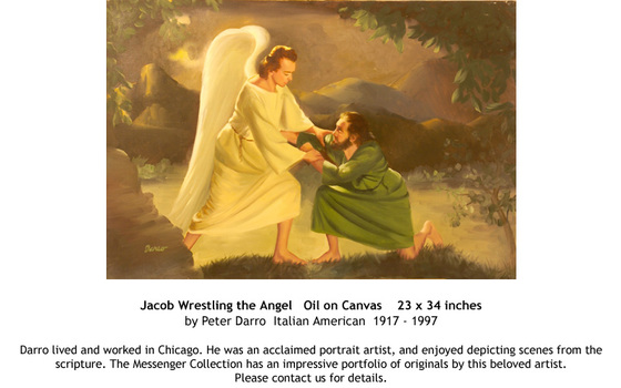 Jacob Wrestling the Angel by Peter Darro - for sale