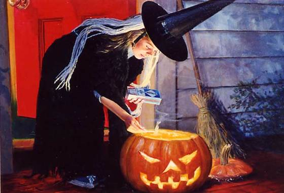 Girl in Witches Costume by Peter Stevens (1920-2001)