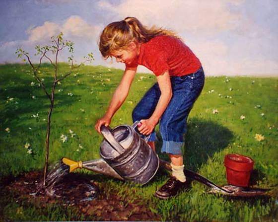 Girl Watering Sapling by Peter Stevens (1920-2001)