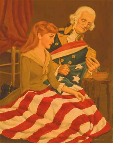 Betsy Ross & George Washington - First Flag