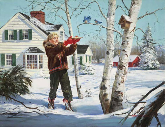 Winter Feeding by Peter Stevens (1920 - 2001)